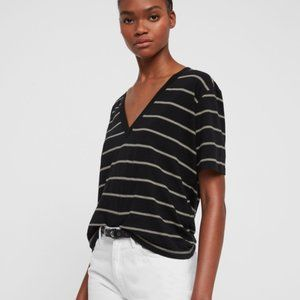 NWT All Saints Saro Striped V-Neck Tee